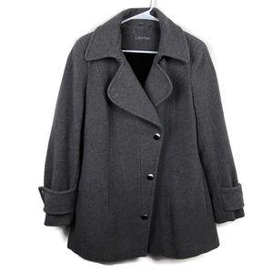 Calvin Klein Size 10 Grey Wool Peacoat